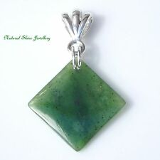 Stylish Pendant Natural Nephrite Jade 5.5 CT 925 Sterling Silver Square 687941