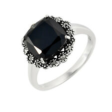 Sterling Silver Square Cushion Cut 3.111ct Black Spinel & Marcasite Ring Size K