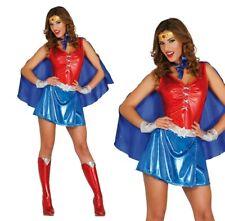 Ladies Superhero Costume Power Woman Fancy Dress Halloween Sexy Power Hero UK