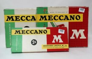 Bundle 3x Boxed Vintage Meccano Accessory Outfits 2A, 3A & 2 | For Spares