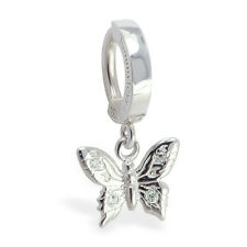 Silver Butterfly Belly Button Ring Charm with CZ's in the wings Body Jewelry