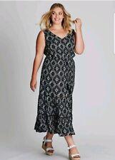 Autograph Black Romantic Frill Dress Lace Details Drawstring Waist Size 26