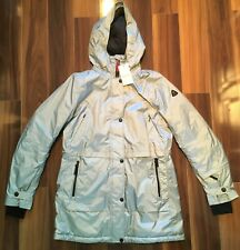 Bogner Fire+Ice Beta Long Parka Ski Jacket Insulated Silver Womens 8 MSPR $850