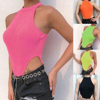 P/: Sommer Spielanzug Damen Freizeit Clubwear Halfter Einfarbig Bodysuit Overall