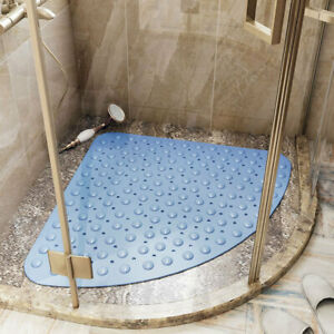 Hotel Bathroom Fan Shaped Sucker PVC Shower Room Bath Mats Non Slip Floor Rugs