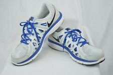Nike Dual Fusion Run 2 Mens 14 Running Athletic Shoes White Blue Synthetic Y101