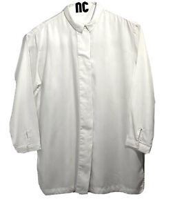 Waven Button Up Longline Tunic White Shirt, Women's SZ 16, SB100710i