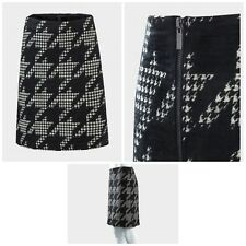 Women Skirt Ex Brand Woven Ladies Chenille Houndstooth Pattern Black