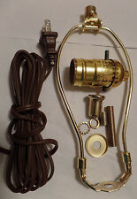 "Table Lamp Wiring Kit 7"" Brass Plated Harp, Push-Thru Socket, 8 ft. Brown Cord"