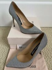 NIB Sergio Rossi Godiva Silver Glitter Leather Pointed Toe Pumps Sz 40 10 $650