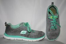 Skechers Light Weight Women's Sneakers Size 8.5 Gray Teal White Tennis Shoes