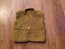 New Hand Knitted baby boys moutarde taille manteau taille 12-18 mois