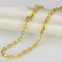 "27.6""L New Au750 Pure 18K Yellow Gold Necklace Elegant Cable Lucky Chain  2.5mmW"