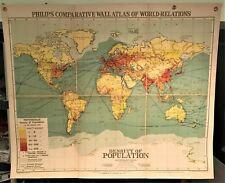 Original 1921 Philips' Comparative Wall Atlas Map  World Population Density Rare