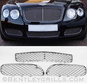 Bentley Continental GT GTC Chrome Lower Grills 2004-2010 3 Piece Grills LAST SET