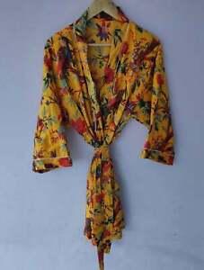 Night Wear Women Long Bird Printed Bathrobe Print Robes Cotton Kimono Indian