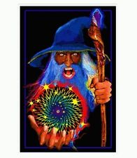 MYSTIC WIZARD - BLACKLIGHT POSTER - 24X36 FLOCKED FANTASY 1971