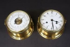 Schiffsuhr Royal Mariner&Schiff Barometer Schatz goldenes Metallgehäuse (DM575)