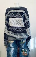 Vtg 70s CAMPUS Aztec Print Ski Sweater w/Leather Rockabilly Unisex XLT EUC