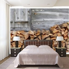 Mural wall sticker - Firewood at the ski lodge 10 pi x 8 pi - CUSTOM WALLSTICKER