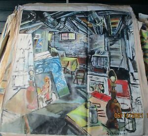PIPE STUDIO A by Ruth Freeman ACRYLIC ON UNSTRETCHED CANVAS 45  X 48
