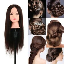 24'' Human Hair Hairdressing Training Head Model Cosmetology Mannequin + Clamp