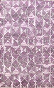 Contemporary Geometric Modern Oriental Area Rug Wool Handmade Purple Carpet 6x8