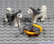 LEGO - 2x White Gray Husky Sled Dog w/ Fish Plate Animal Minifigure Wolf Arctic