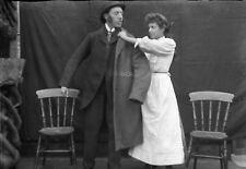 THEATRICAL SCENE #1 Antique Photographic Glass Negative (1910s Edwardian Play)