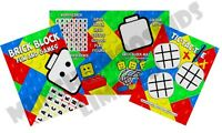 Pack of 12 - Brick Block Fun and Games Activity Sheets - Party Bag Fillers