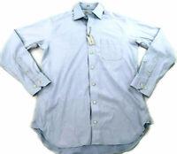 Peter Millar Men 36/37 17 & 17.5 Extra Long Dress L/S Button Shirt Blue NWT $145