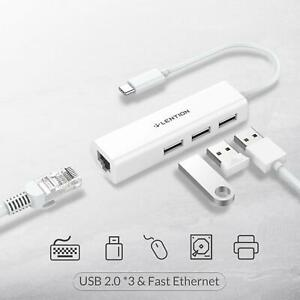 LENTION 4-IN-1 USB-C to Ethernet Type C to USB 2.0 Adapter for Apple MacBook