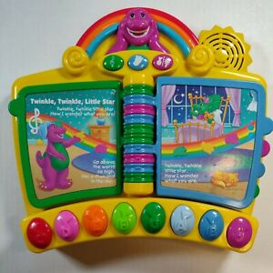 2001 Mattel Barney Musical Nursery Rhymes Piano Book Electronic Interactive Toy