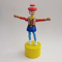 Classic Wood Push Puppet ORANGE OCTOPUS 8 Legs Wavy Blu Ocean Base CUTEST EVER