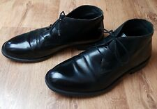 Nobrand Mens Black Leather Ankle Boots Size 10 EU44 Lace Ups Round Toes Smart