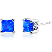 Oravo 1.25 carat Created Blue Opal Princess Cut Stud Earrings Sterling Silver