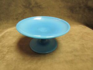 Vintage 1940's Cambridge Glass Azurite Blue Color Footed Compote Mint Dish Tray