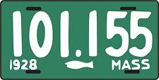 MASSACHUSETTS- 1928 fisherman, fish, guppy license plate  - aluminum - MASS