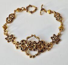 Vintage Armband florales Ornament Blüten Herzen Strass antik gold vergoldet