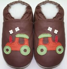 soft sole leather baby crawling shoes tractor tan 6-12m free shipping