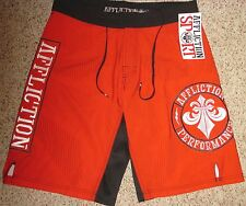 Mens 32 AFFLICTION Sport RED TRAINING BOARD SHORTS Fleur de lis ATHLETIC TRUNKS