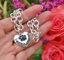 Sterling Silver Plt Charm BRACELET I Love My Rescue Cat Heart Paw Print Paws