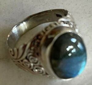 MENS 925 STERLING SILVER GEMSTONE RING SIZE 11-11 1/2 BEAUTIFUL STONE VERY NICE!