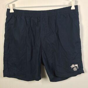 Stussy mens shorts size 36 navy blue elastic waist stretch cotton