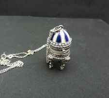 SILVER ENAMEL PENDANT SET WITH SEED PEARLS AND MARCASITE ON SILVER CHAIN. BOXED