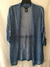 Nic + Zoe Cardigan womens Small blue sheer nights open New cinch waist sweater