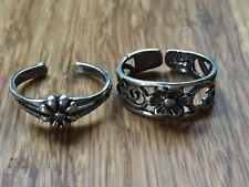 Two Beautiful New Flowers Toe rings 925 Sterling Silver *Size Adjustable * H931
