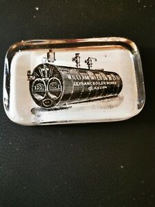 ADVERTISING GLASS PAPERWEIGHT ORIGINAL EARLY 1900S WILSON BOILERS GLASGOW