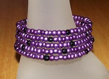 Purple and Black Beaded Wrap Memory Wire Coil Bracelet - USA Made - Glass Beads