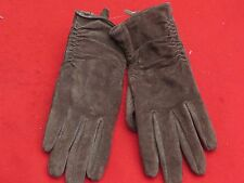 Pair Of NEXT Ladies Ruffled Brown Suede Leather Gloves - Size 6 1/2